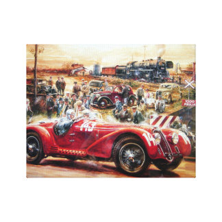 Retro racing car painting stretched canvas print