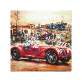 Retro racing car painting stretched canvas prints