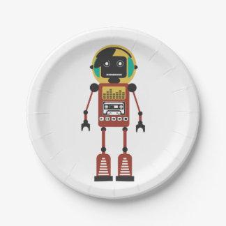 Retro Radio Robot Paper Plate
