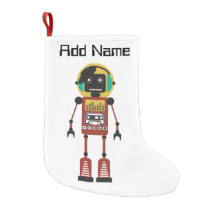 Retro Radio Robot Small Christmas Stocking