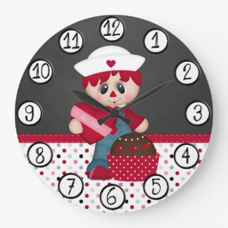Retro Raggedy Doll Heart Valentine Wall Clock