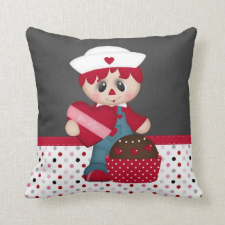 Retro Raggedy Doll Heart Valentine Cushions