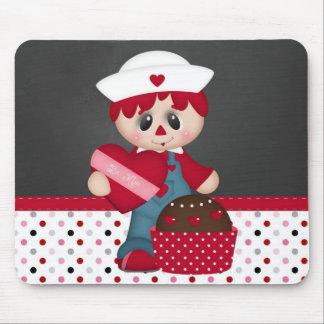 Retro Raggedy Doll Heart Valentine Mouse Pad