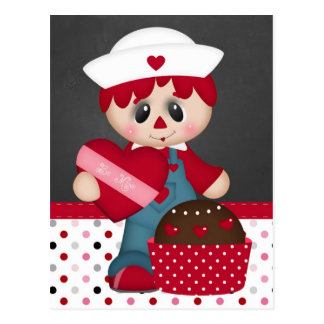 Retro Raggedy Doll Heart Valentine Postcard