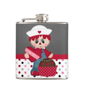Retro Raggedy Doll Heart Valentine Hip Flasks