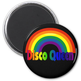 Retro Rainbow 80s Disco Queen 6 Cm Round Magnet