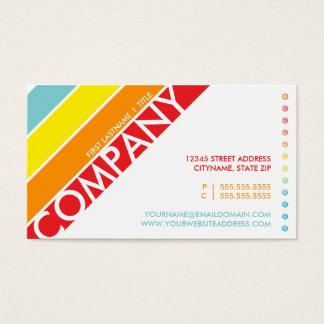 retro rainbow bullseye punchcard business card