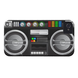 retro rainbow buttons boombox ghetto master Case-Mate iPhone 4 case