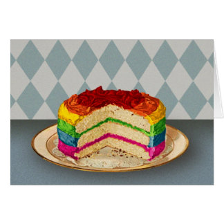Retro Rainbow Cake Card