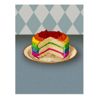 Retro Rainbow Cake Postcard