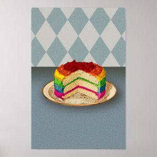 Retro Rainbow Cake Posters