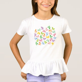 Retro Rainbow Chicks Pattern Fun Easter T-shirt