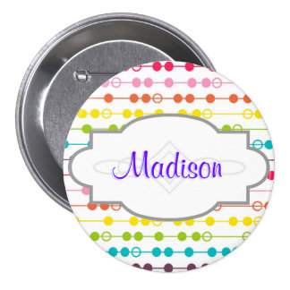 Retro Rainbow Circles Pattern Buttons