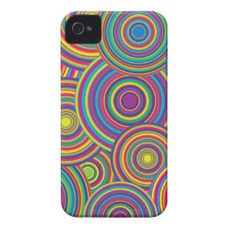 Retro Rainbow Circles Pattern iPhone 4 Covers