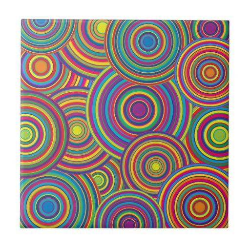 Retro Rainbow Circles Pattern Tiles