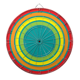 retro rainbow dartboard with darts
