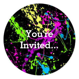 Retro Rainbow of Neon Paint Splatters on Black 13 Cm X 13 Cm Square Invitation Card