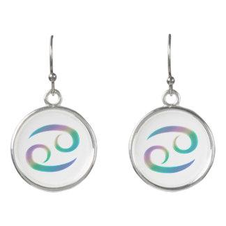 Retro Rainbow Zodiac Sign Cancer Earrings