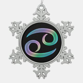Retro Rainbow Zodiac Sign Cancer Pewter Snowflake Decoration