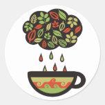 Retro raining tea leaves cloud teacup