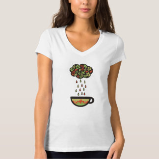 Retro raining tea leaves cloud teacup T-Shirt