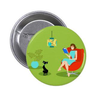 Retro Reading Woman Button