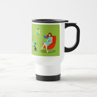 Retro Reading Woman Travel Mug