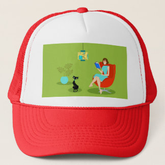 Retro Reading Woman Trucker Hat