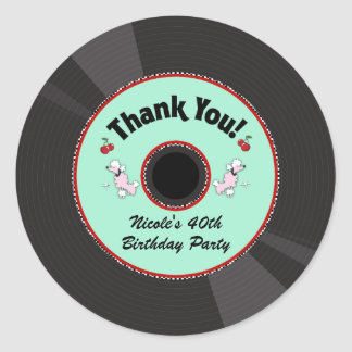Retro Record 1950'S 50'S Fifties Party Thank You Classic Round Sticker