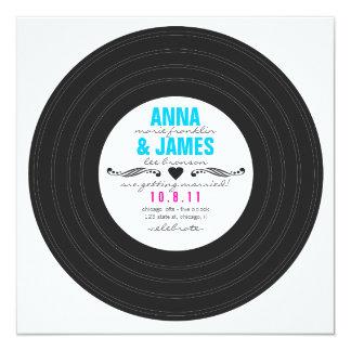 Retro Record Invitation with Hearts