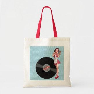 Retro Record Pin-up Girl Budget Tote Bag