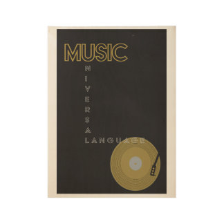 Retro Record Player Poster Wood Poster