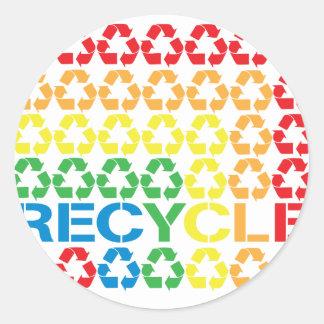retro recycle round sticker