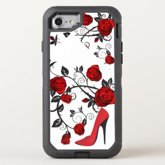 Retro Red and Black Stiletto Heel and Roses OtterBox Defender iPhone 8/7 Case