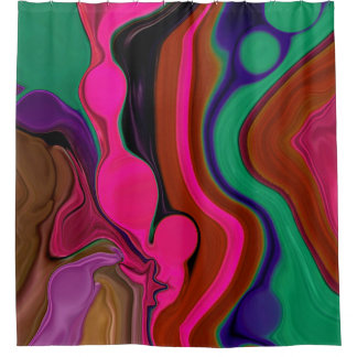 retro red and fuschia psychedelic shower curtain