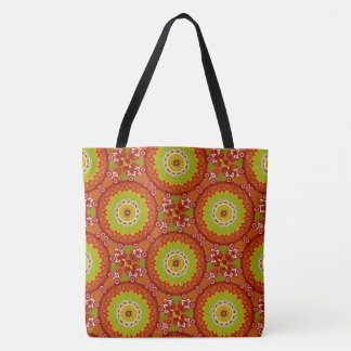 Retro Red And Green Tote Bag