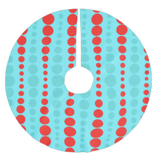 Retro Red and Turquoise Dots Christmas Tree Skirt