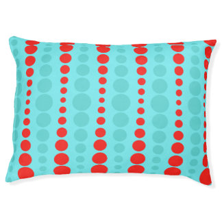 Retro Red and Turquoise Dots Dog Bed