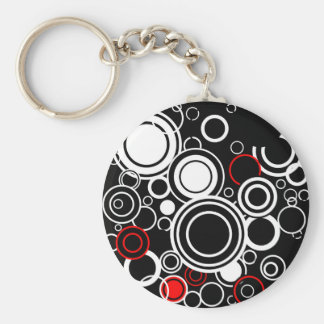 Retro Red And White Circles Basic Round Button Key Ring
