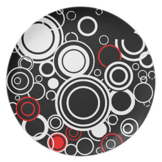 Retro Red And White Circles Plate