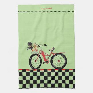 Retro Red Bike with Little Black Dog Tea Towel
