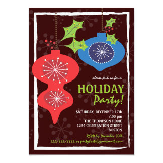 Retro Red & Blue Christmas Ornaments Holiday Party 13 Cm X 18 Cm Invitation Card