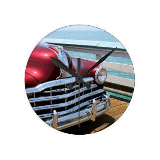 Retro Red Car Round Clock