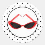 Retro Red Cat Eye Sunglasses & Black Polka Dots Round Sticker
