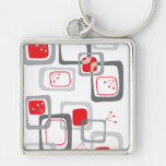 Retro Red Cherry Squares Keychain