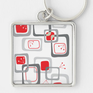 Retro Red Cherry Squares Keychain