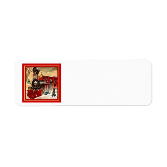 Retro Red Christmas Train Engine Return Address Label