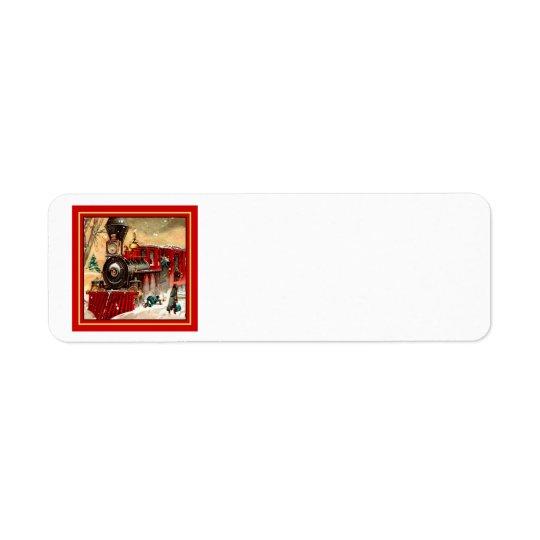 Retro Red Christmas Train Engine Return Address Label
