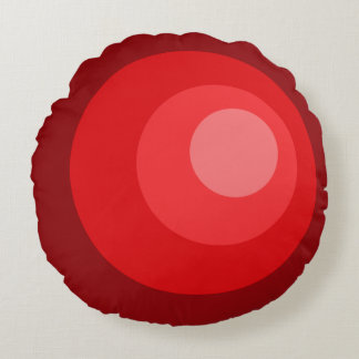Retro Red Circles Round Cushion