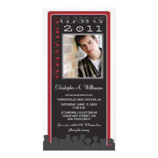Retro Red Custom Graduation Announcement Picture Card